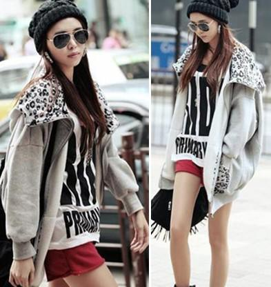 Fashion Women Ladies Girls Grey Cardigan Hoodies Sweatshirts ...