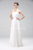Wholesale 2013 Beach Wedding Dresses A Line White Summer Chiffon Prom Gown Halter Beaded Empire Bridesmaid Dresses N2A6077