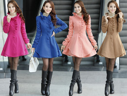 Elegant New Korean Plus Size Women Single Breasted Ruffles Wool Coat Fall Outerwear Lady Girl Princess Winter Overcoat