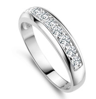 Wholesale Top Sale Platinum Plated Diamond Women Ring With Austria Crystal J294