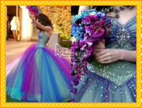 Wholesale Sexy Two tone Beaded Blue Purple Sweetheart Tulle Length Prom Dresses Quinceanera Gowns