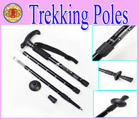 Trekking Poles Cork / Rubber Hiking Wholesale - - high quanlity Anti-shock Hiking Walking Trekking Stick Pole AntiShock Black
