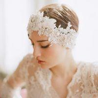 Other Type Faux Pearl  Romance Girls Women Bridal Headwear Diamond Jewelry Pearl Lace Hair Wedding Bridal Accessories KH528