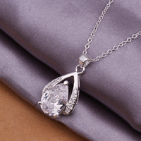 Wholesale Fashion trend high quality silver pendant Inlaid Swarovski Elements Crystal exquisite Drop Shape necklace jewelry holiday gifts N322