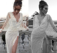 Wholesale 2014 Hot sale Super sexy deep V neck long sleeves sheath wedding dresses sequins beaded summer side slit bridal gowns High quality ID1203