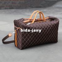 Wholesale Celebrity Hot Sale Plaid PU Leather Travel Bag Large Luggage Bags Men Women Cross Body Boston Messenger Duffel Travel Bag