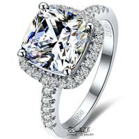 lab created - 3ct Princess Cut Diamond Ring k Gold Plated Classic Halo Style Cushion Cut Wedding Rings Lonze Lab Created Diamond Silver Engagement Rings
