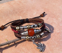 bead post - Vintage leather multi wrap bracelets with maple and red glass beads Jewelry wristbands E packet China post Y0045