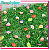 Wholesale Artificial plastic grass mat wedding decoration with flower table runner designs can choose