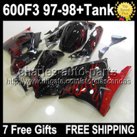 7gifts+ Tank For HONDA CBR600F3 Red flames 97- 98 CBR 600 600F...