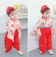 Spring / Autumn baby kimono romper - Kids Climb Clothes Long Sleeve Jumpsuit Rompers Girls Cute Red Kimono Fashion Bowknot Jumpsuits Baby One Piece Romper One Piece Clothing