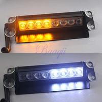 Wholesale 8 LED Amber White Car Police Strobe Flash Light Dash Emergency Flashing Modes