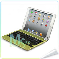 Wholesale NEW Magnetic Suction Aluminum Bluetooth Wireless Keyboard Holder Case Cover for iPad Mini Bluetooth Keyboards DA0807