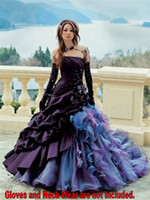 Autumn/Spring affordable black dresses - 2016 Purple Colorful Gothic Victorian Unique Wedding Dresses Lavish Ruffle Affordable Strapless ball Gown Bridal Dresses