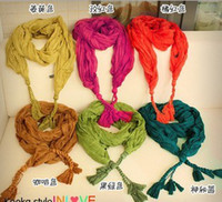 Wholesale 5pcs new New Candy color scarf Tassel a ponytail scarf Pure cotton braid Scarves