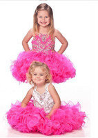 Wholesale Beautiful Lovely Fuchsia Spaghetti Straps Cupcake Dazzling Beading Organza Flower Girl Dress AB647