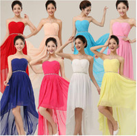 Wholesale 2013 Custom Summer strapless lace up short front long back beaded chiffon short party prom dresses Bridesmaid dress SDSD