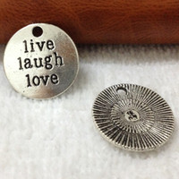 Traditional Charm base metal charms - NEW mm Antique Silver Metal Alloy Lettering quot LIVE LAUGH LOVE quot hang tag Charms Jewelry Base settings Finding Pendant
