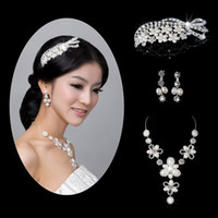 Wholesale In Stock Three piece Rhinestone Pearls Bridal Accessories Tiaras Hair Accessories For Wedding Prom Quinceanera Celebrity Dress