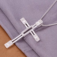 cross necklace crystal - Fashion trend high quality silver pendant Inlaid Swarovski Elements Crystal Beautiful Hollow cross necklace jewelry N344 holiday gifts