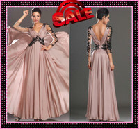 Wholesale 2016 Sexy V Neck Mother of the Bride Dresses Sheer Black Beads Appliques Long Sleeves Skin Pink Chiffon A Line Long Wedding Evening Gown