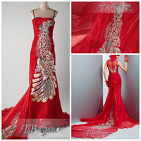 Wholesale Beautiful Red Strapless Neckline Beaded Embroidery Nice Sweep Train DF215 Trumpet Wedding Party Dresses Beauty Date Dresses