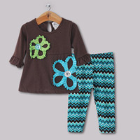 Wholesale 2014 New Year Baby Kids Clothing Set Girls Christmas Black T Shirt Big Flower Pattern With Diamond And Striped Blue Pants Halloween