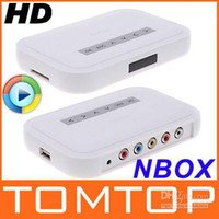 Wholesale NBOX HD TV SD MMC Card Flash Hard Drive Disk Media Player Video player with remote control Free Ship