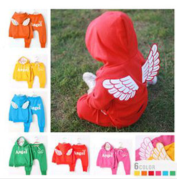 Wholesale Children s Outfits amp Sets Angel wings Candy color Outfit Sets Hoodies set Baby set clothing