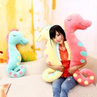 Wholesale New Style Polka Dot Seahorse Pillow Plush Boyfriend pillow Sleeping Pillow Candy Color K0022