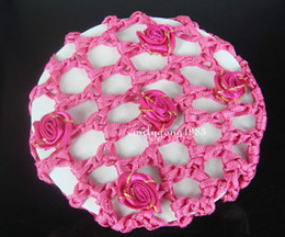 New Arrive Handmade 100Pcs Rose Bun Cover Snood Hair Net Ballet Dance Skating Crochet Beautiful Colors Free Shipping