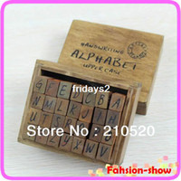 Wholesale Set Ancient Capital Letter Wooden Box multipurpose Wood Rubber Stamp Gift for kids New