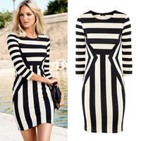 Wholesale Gorgeous Women Girls Celebrity Monochrome Fashion Dress Shirt Dress for Party Cocktail Bodycon Dresses Black White Zebra Striped S XL