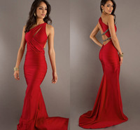 Wholesale 2014 New Elegant Women s Prom Dresses One Shoulder Scalloped Collar Sexy Ruffle Prom Gowns Court Train BO1721