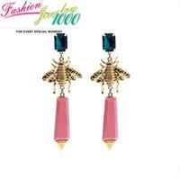 Drop Earrings bee stone - 2013 New Fashion Retro Sweet Bee Pink and Green Resin Stone Drop Earrings Crystal Animal Jewelry For Women