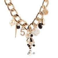 al por mayor asiático perla colgante collar-Wuji asiáticos de la joyería fina de la moda de las mujeres collar de babero oro plateado chokers collares de perlas rosa colgante de encanto colgante de cristal paraguas