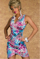 Wholesale 977 women new fashion blue green floral sleeveless v neck sexy lingerie clubwear dress ladies summer dresses drop ship