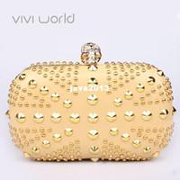 Cheap Famous designer luxury gold evening bag, Punk skull rivet rhinestones clutches, UK flag party bags handbag clutch bags