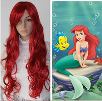 Wholesale 32 quot THE LITTLE MERMAID ARIEL Curly Wavy RED WIG Cosplay Wigs