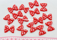 Jewelry Findings Yes cameo Set of 100 pcs red lovely polka dots Bow Cabochons (28mm) Cell phone decor, hair accessory embellishment, DIY project