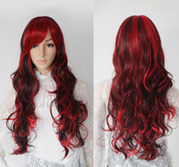 Wholesale 32 quot Long Spiral Wavy WIGS CURLY RED amp BlackCosplay Wig