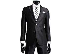 Wholesale new men s suits navy button black silm suit pants tie wedding suits groom suits men s suits H094