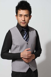 Wholesale new men s suits vest light grey color waistcoat fashion silm Korea vest sleeveless H099