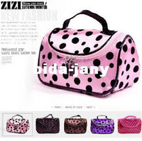 Unisex other other Promotion! Hot Cute Double Zipper Dot Cosmetic Box Makeup Bag Coin Pouch Make Up Storage Organizer Case Hand Clutch with Mirror