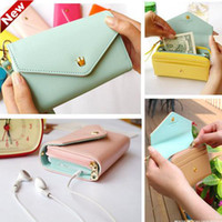 Women PU Cell Phone Pocket Wholesale - 2013 New Fashion 7 Colors Envelope Wallet Case Purse Samsung Galaxy Iphone Phone Bags Free Shipping