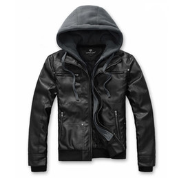 Wholesale 3077 HOT NEW fashion Men s Thick warm winter Hooded PU Leather Leather motorcycle Jackets Coat Outerwear