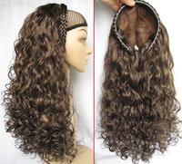 Wholesale Stylish Half Wig Hair Fall Synthetic Wigs for Women Curly Wig Fall Synthetic Wig Dark Brown Wig