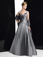 Taffeta Sweetheart Short Sleeve Silver-Gary sweetheart cap sleeve taffeta with lace beads Mother of the Bride Dress Evening Prom Formal Dress Gown With Free Shawl