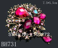 Women's antique gold brooch - hot sell Antique Gold alloy crystal rhinestone fashion flower brooch Mixed colors BH731