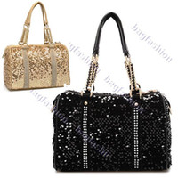 synthetic leather tote - Women s Synthetic Leather Sequins Tote Chain Shoulder Bag Handbag Girl Cross Body Bags11096